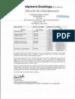 Certificate of Conformance Polyspec March 2014