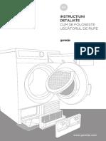 Manual de utilizare uscator de rufe Gorenje D8565NA