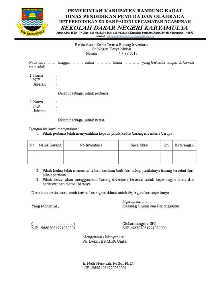 Surat Serah Terima Barang Inventaris