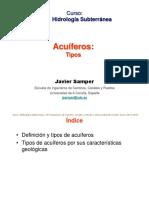 Samper Tipos de Acuiferos Parte 1 - Hidrologia Subterranea - Apuntes PDF