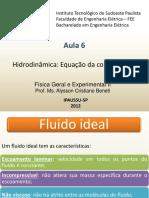 F2 Aula 6 Hidrodinâmica Equação da Continuidade.pptx