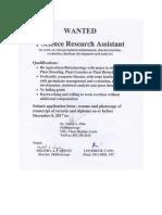 Job Opportunity- SRA Biotech