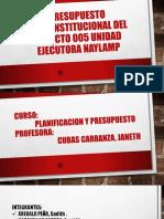 Presupuesto Interinstitucional Del Poyecto 005 Unidad Ejecutora Naylamp