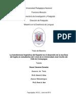 La Transferencia Linguistica Del Espanol en El Desarrollo de La Escritura Del Ingles en Estudiantes