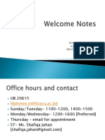 Welcome Notes