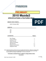 2010 Mazda3 Sedan Specifications & Features Preliminary)