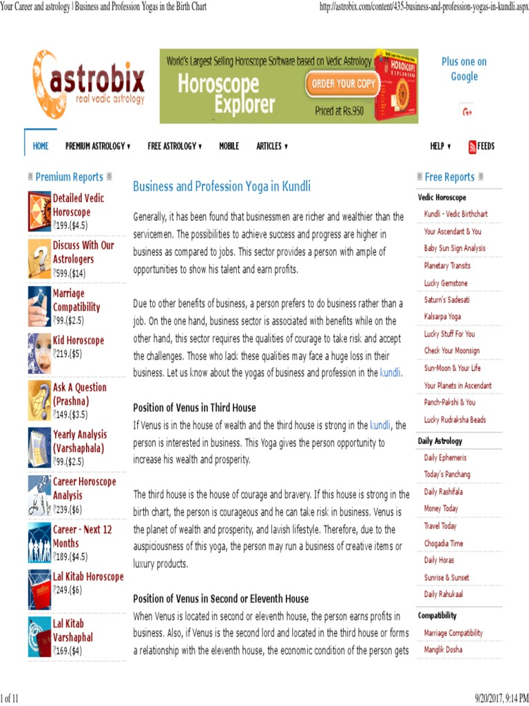 Your Career And Astrology Business And Profession Yogas In The