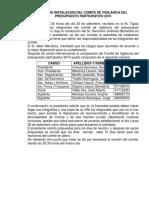 Acta de Instalacion Del Comite de Vigilancia Del Presupuesto Participativo 2010