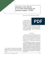 A não-discriminação como Direito Fundamental e as redes municipais de proteção a minorias sexuais - LGBT