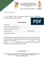 Constancia de Ingresos Jalapa