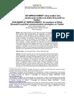 DOURADO, Tatiana Et Al. @DILMABR NO IMPEACHMENT – Uma Análise Das Estratégias de Comunicação Política de Dilma Rousseff No Twitter