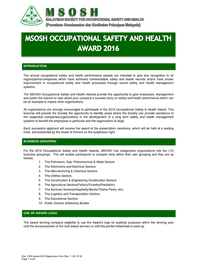 Application Form Osh Award 2016 | Audit | Occupational