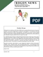 September 2008 Trogon Newsletter Huachuca Audubon Society