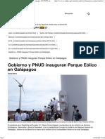 Gobierno y PNUD Inauguran Parque Eólico en Galápagos