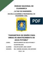 PARAMETROS DE DISEÑO PARA ABASTECIMIENTO DE AGUA POTABLE