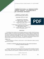 METODOS NUMERICOS PARA LA RESOLUCION DEL PROBLEMA LINEAL - CUADRATICO DE CONTROL OPTIMO