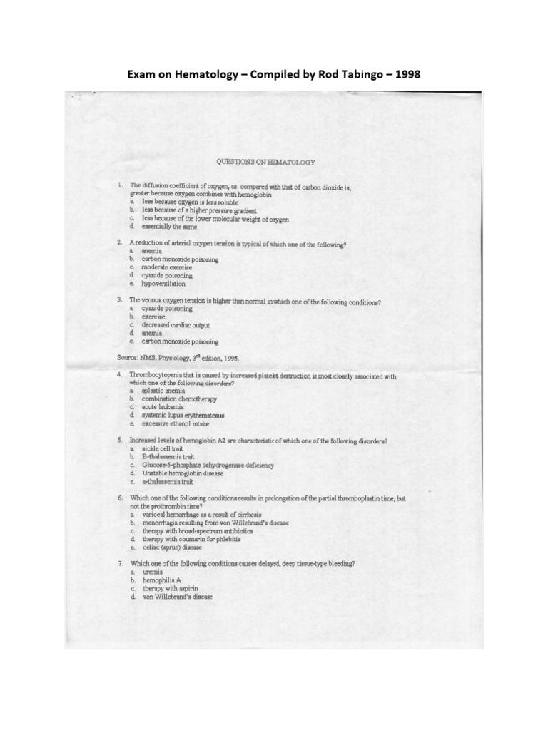 Exam on Hematology – Compiled by Rod Tabingo