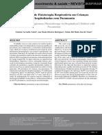 Prescripción de Fisioterapia Respiratoria en Niños Hospitalizados Con Neumonía