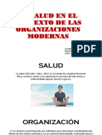 La Salud en El Contexto de Las Organizaciones Modernas.