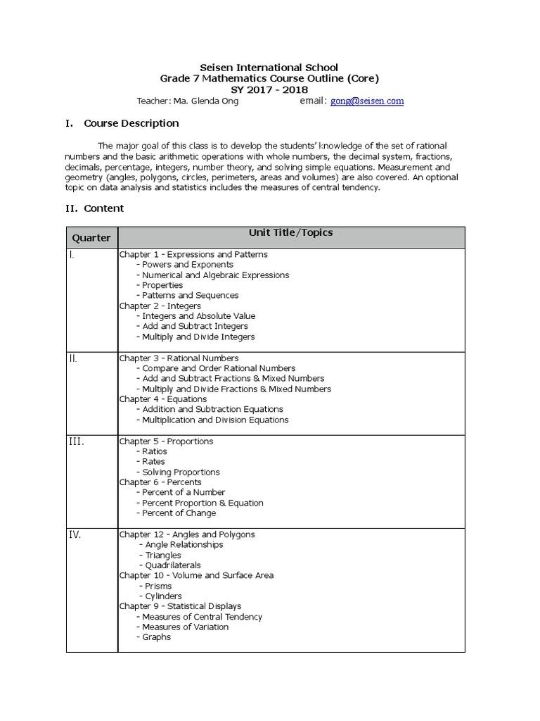 grade 7 course outline 2017-18 | Fraction (Mathematics) | Multiplication