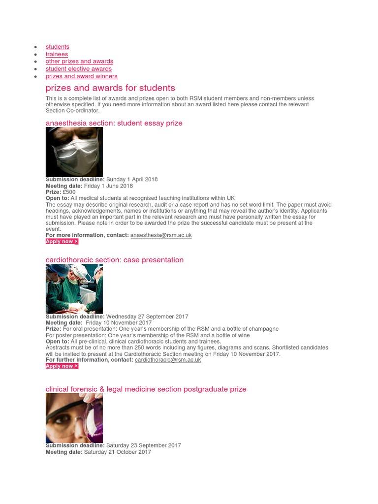 rsm anaesthesia essay prize