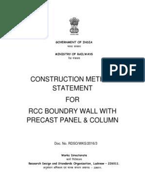 Precast Boundary Wall RSDO pdf | Precast Concrete | Concrete
