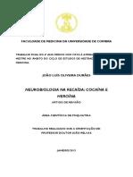 Neurobiologia Na Recaída - Cocaína e Heroína. FMUC. 2013. João Durães