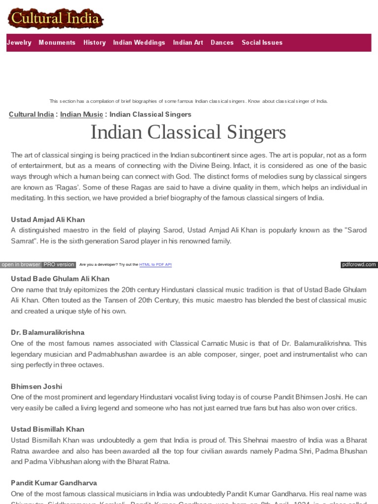 Culturalindia Net Indian Music Classical Singers
