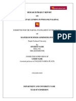 Study of Retail Lending in Pnb Bank in Karnal