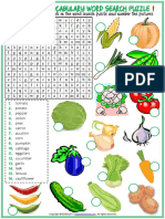 Vegetables Vocabulary Esl Word Search Puzzle Worksheets for Kids