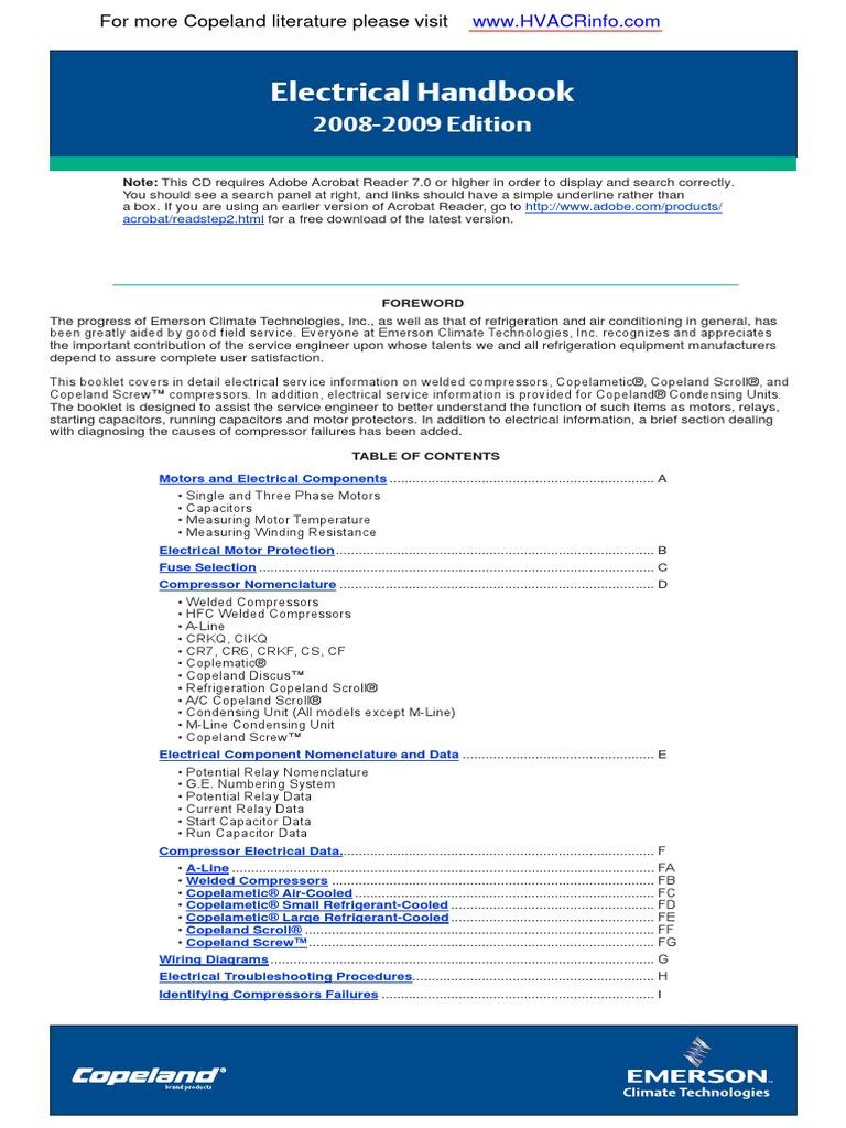 copeland electrical handbook pdf capacitor resistor rh scribd com Refrigeration Compressor Wiring Diagram Basic HVAC Wiring Diagrams