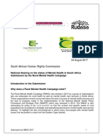 Submission to the SAHRC by the Rural Mental Health Campaign