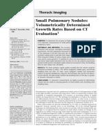 Small Pulmonary Nodules, Volumetrically Determined Growth on CT Evaluation; RSNA