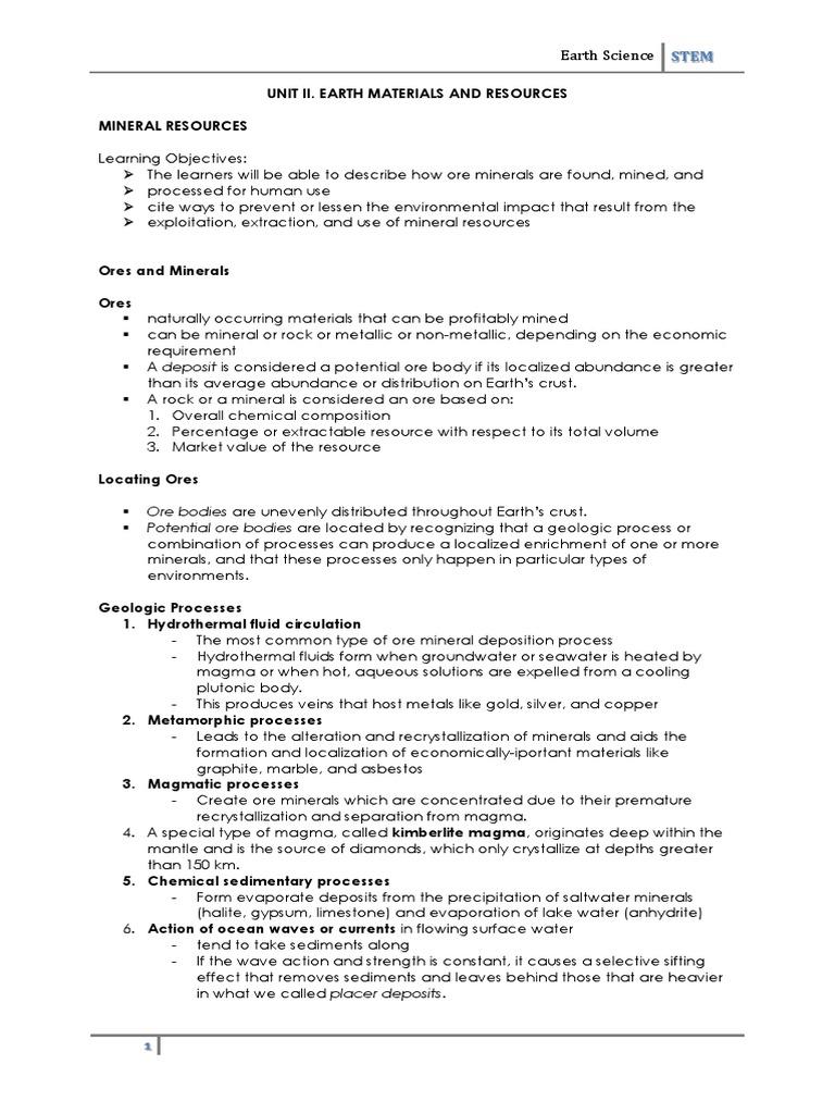 Unit 2 Mineral Resources 2 | Mining | Minerals