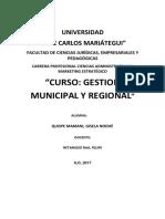 Gestion Municipal y Regional