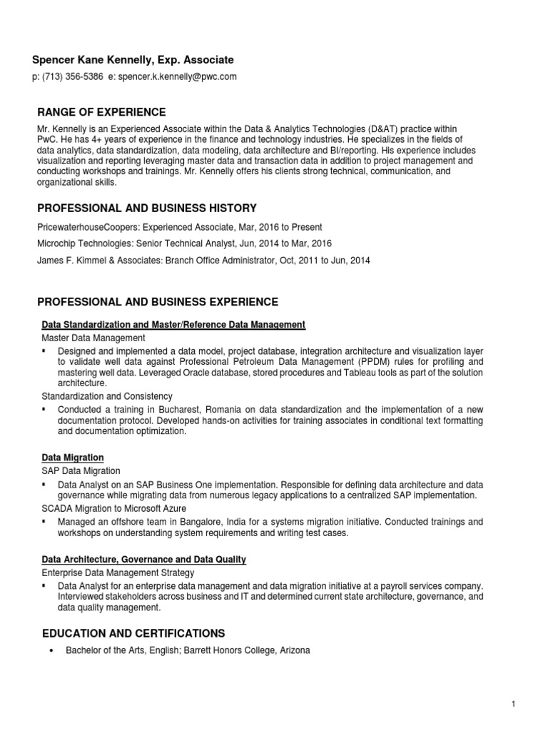 Kennelly Resume (1) | Sap Se | Data Quality