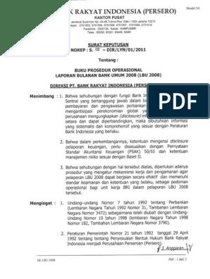 Buku Prosedur Operasional Laporan Bulanan Bank Umum 2008 Lbu 2008