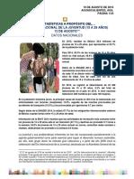 Estadísticas a Propósito Del Día Internacional de La Juventud