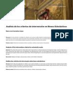 GONZÁLEZ LÓPEZ, Mª José. Criterios de Intervención en Bienes Eclesiásticos