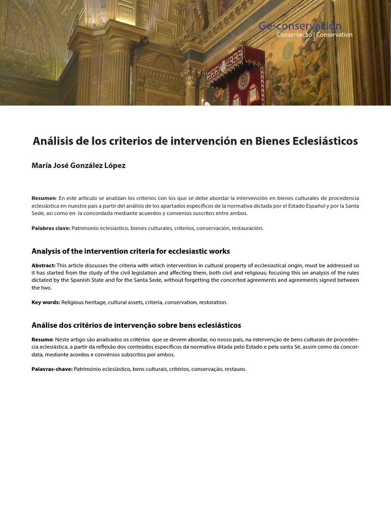 GONZÁLEZ LÓPEZ, Mª José. Criterios de Intervención en Bienes ...