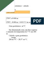 Cálculo do Gradiente e Grau Geotérmico