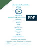 Reporte III Educacion Para La Paz Yordan