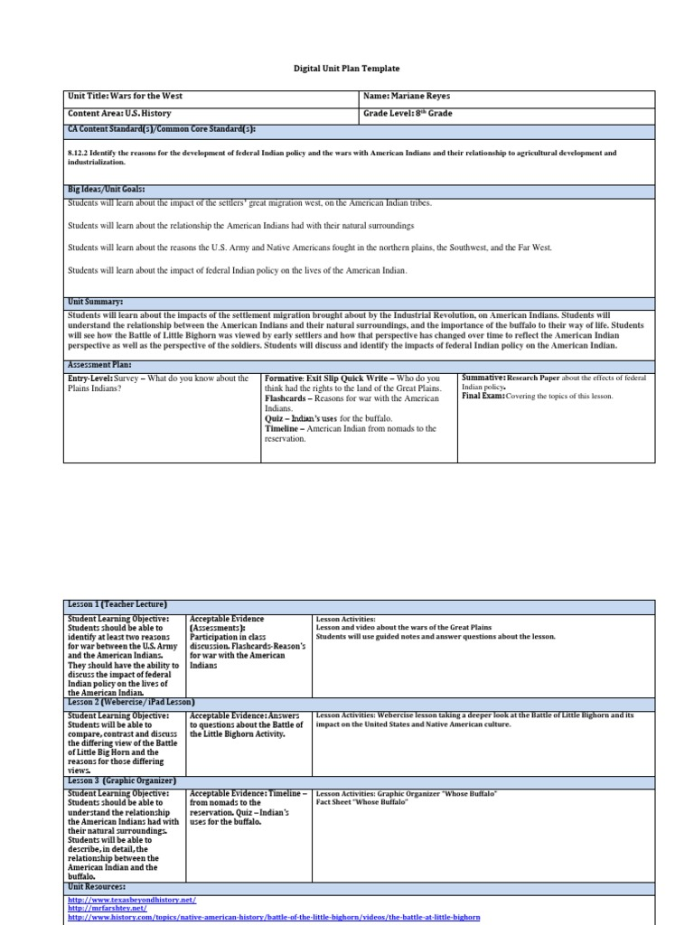 Reyesdigital Unit Plan Template Native Americans In The United