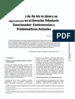 El Principio de N e Bis in Idem y Su Aplicacion D Tributario Sancionador
