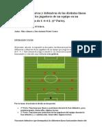 Funciones ofensivas y defensivas de las distintas líneas y posiciones de los jugadores de un equipo en un sistema de juego de 1-4-4-2