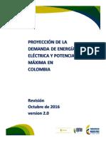UPME Proyeccion Demanda Energia Electrica Octubre 2016 Version2.0
