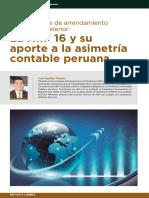 La NIIF 16 y Su Aporte a La Asimetría Contable Peruana. Transacciones de Arrendamiento Con Venta Posterior