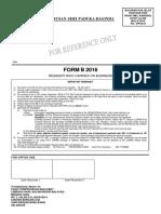 Form B 2016 LHDN