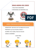 Informe Laboratorio de Lab. Tecnología Del Concreto Diseño y Preparación de Mezcla