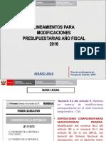Lineamientos Para Modificaciones Presupuestarias Año Fiscal 2016